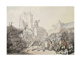 A Cornish Wrestling Match Giclee Print by Thomas		 Rowlandson