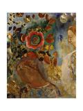 Two Young Girls with Flowers Giclee Print by Odilon Redon