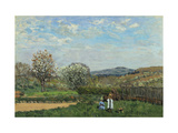 Children Playing in a Field Giclee Print by Alfred		 Sisley