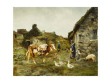 The Farmyard Posters by Adolphe Charles		 Marais