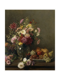 Chrysanthemums in a Glass Vase and a Bowl of Fruit on a Table Giclee Print by Francois		 Furet
