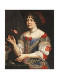 Portrait of a Lady, three-quarter length, in a Blue and Red Embroidered Dress Giclee Print by (circle of) Pier Cittadini