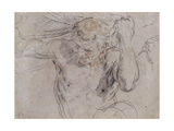 A Satyr Lifting Drapery, and a Subsidiary Study of his Left Hand Giclee Print by Guido		 Reni