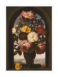 Roses in a Roemer with a Turban Buttercup and a Sowbread in a Casement, a River Landscape Beyond Prints by Ambrosius the Elder		 Bosschaert