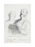 Two Singers Prints by Honore Daumier