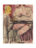 Female Nude and Man sitting at a Table Prints by Ernst Ludwig Kirchner