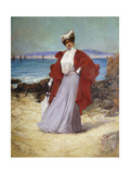 An Elegant Lady on a Seashore Giclee Print by Alexandre Charles		 Masson