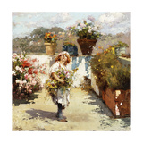 A Young Girl Gathering Flowers in the Sunshine Giclee Print by Vincenzo		 Irolli