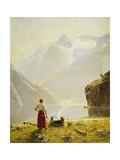 A Summer Day on a Norwegian Fjord Giclée-tryk af Dahl Hans