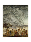 Hercules Supporting the Sky instead of Atlas Giclee Print by Arthur		 Rackham