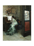 A Lady Playing the Piano in an Interior Giclee Print by Madrazo y Garreta Raimundo