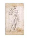 A Nude holding a Cape over his Shoulders Giclée-tryk af Fra Bartolommeo
