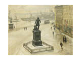 The Statue of Tordenskiold Facing Piperviken, Oslo Harbour Giclee Print by Paul		 Fischer
