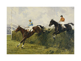 Golden Miller and Delaneige at the Last Fence at the Grand National, 1934 Giclee Print by Charles		 Simpson