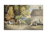 A Village Green: a Carriage Halted Beneath a Tree Giclee Print by Thomas		 Rowlandson