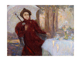 Woman with an Umbrella Giclee Print by Henri		 Le Sidaner