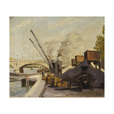 Cranes on the Seine Giclee Print by Maximilien		 Luce