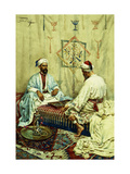 Arabs playing Backgammon in an Interior Posters by Giulio		 Rosati