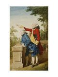 The Prince of Saxe-Gotha with His Tutor, Baron d'Hel...on a Terrace Posters by Louis Carmontelle