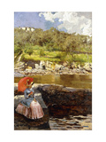 The Red Parasol Giclee Print by Isidoro		 Farina