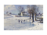 Sledging on a Frozen Pond Giclee Print by Peder Mork Monsted