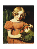 Portrait of Louisa Booth in a Coral Pink Dress Trimmed with a Blue Braid Holding a Basket of Grapes Giclee Print by Jacques-Laurent		 Agasse