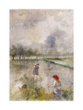 Woman in the Rice Fields Giclee Print by Pompeo		 Mariani