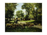 A Shepherd and his Flock Prints by Julien		 Dupre