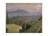 A View of Edinburgh from the Castle Looking Across the Esplanade Towards Arthur's Seat Gicléetryck av Sir John Lavery