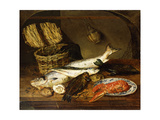 A Salmon, a Mackerel, a Lobster on a Plate, a Wicker Basket, Oysters, a Chianti Bottle etc. Art by Emily		 Stannard