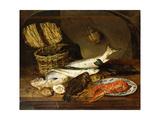 A Salmon, a Mackerel, a Lobster on a Plate, a Wicker Basket, Oysters, a Chianti Bottle etc. Art by Emily Stannard