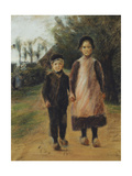Young Boy and Girl on the Village Street Giclee Print by Max		 Liebermann
