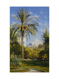 The Gardens of the Royal Palace looking towards Lykavitos Hill, Athens Prints by Peder Monsted