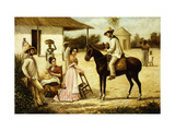 Family of Peasants at the Door of the Barn Giclee Print by Victor Patricio		 Landaluze