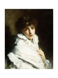 Portrait of a Young Girl in White Giclee Print by Gustave Jean		 Jacquet