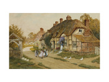 Children Playing Outside a Cottage in a Village Print by Arthur Claude		 Strachan
