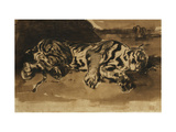 Tiger Lying Down Giclee Print by Ferdinand Victor Delacroix