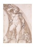 A Standing Putto Holding the Papal Keys: A Study for a Lunette Prints by Orazio		 Samacchini
