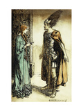 Siegfried meets Gutrune: The Twilight of the Gods Premium Giclee Print by Arthur		 Rackham