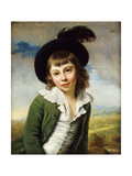 The Green Boy': A Portrait of a Boy in a Green Coat and Black Hat with a Feather Plume Prints by Nathaniel		 Hone