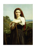Young Shepherdess Prints by William Adolphe		 Bouguereau