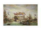 The Launching of HMS Trafalgar at Chatham 26 July 1820 Giclee Print by C. John Whichelo