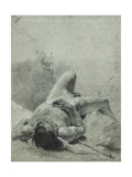 A Nude Youth Sprawled on His Back, upon a Bank, Lying on a Standard Giclee Print by Giovanni Battista		 Piazzetta