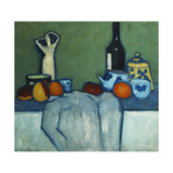 Still Life with Bottle, Fruit and Figure Art by Alexej Jawlensky