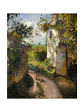 Peasant on an alley by a House, Pontoise Giclee Print by Camille Pissarro