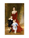 Portrait of a Lady, standing full length, with her Children Posters by Lobrichon Timoleon-Marie