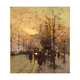 Figures on a Parisian Street at Dusk Poster par Eugene		 Galien-Laloue