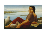 Girl with Sheep Giclee Print by Georg		 Schrimpf