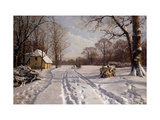 A Sleigh Ride through a Winter Landscape Prints by Peder		 Monsted