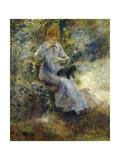 Woman and Black Dog Prints by Pierre-Auguste Renoir